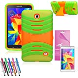 EpicGadget(TM) Green and Orange Durable Heavy Duty Rugged Impact Hybrid Case with Build In Kickstand Protective Case For Samsung Tablet Galaxy Tab 4 7.0 inch With Galaxy Tab 4 SM-T230 Clear Screen Protector And Universal Long Touch Stylus Pen (US Seller!!) (X Stand Green)