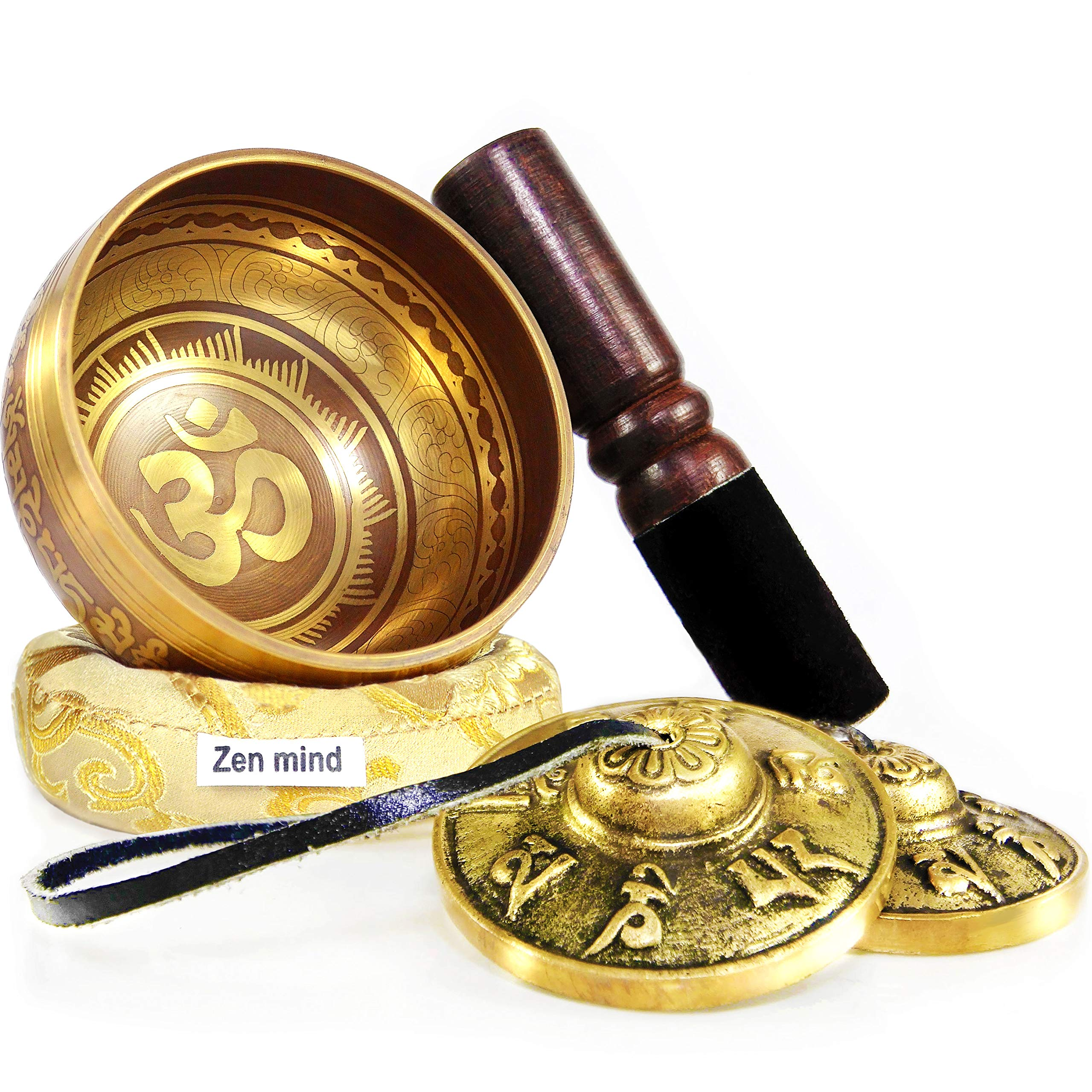 Tingsha Tibetan Singing Bowl Set by Zen Mind Design - with Tingsha Cymbals, Weighted Mallet, Handmade Cushion, Eco-Friendly Box and E-Book - for Yoga and Stress Relief Meditation by Zen Mind Design
