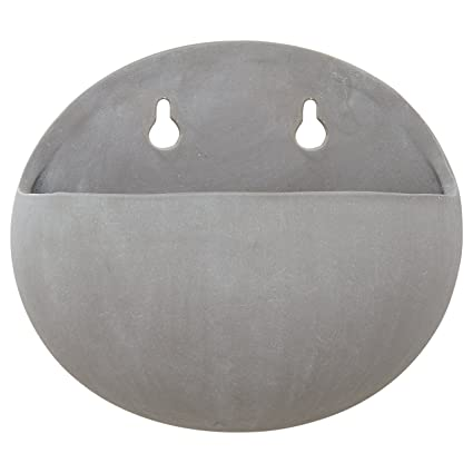 Rivet Modern Rounded Earthenware Wall Mount Planter, 6.25u0026quot; ...