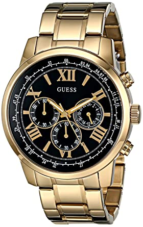 Guess Men S U0379g4 Stunning Gold Tone Chronograph Watch With Black Dial