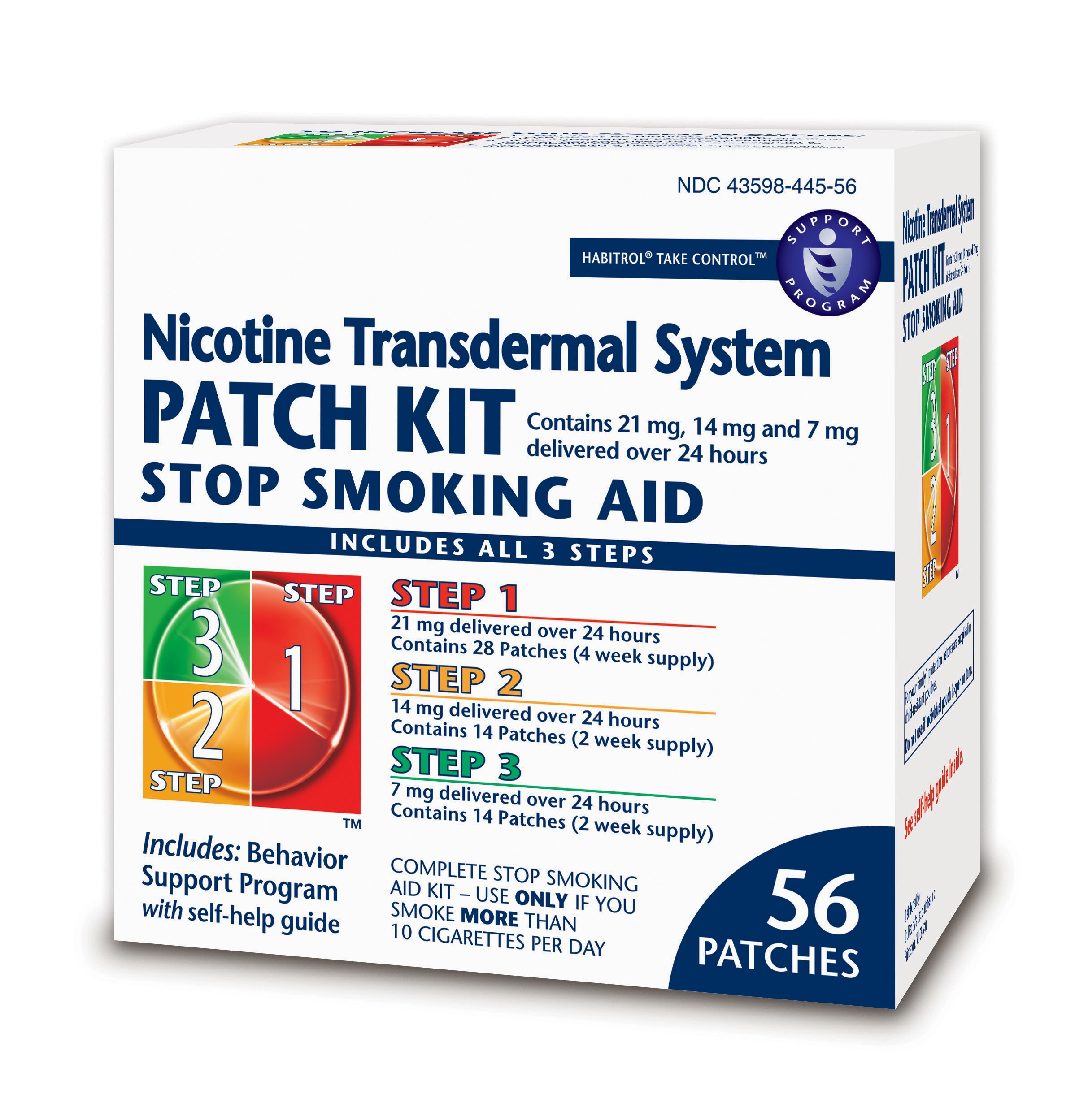 Habitrol Nicotine Transdermal System Stop Smoking Aid Kit; Steps 1,2,3; 56 Patches