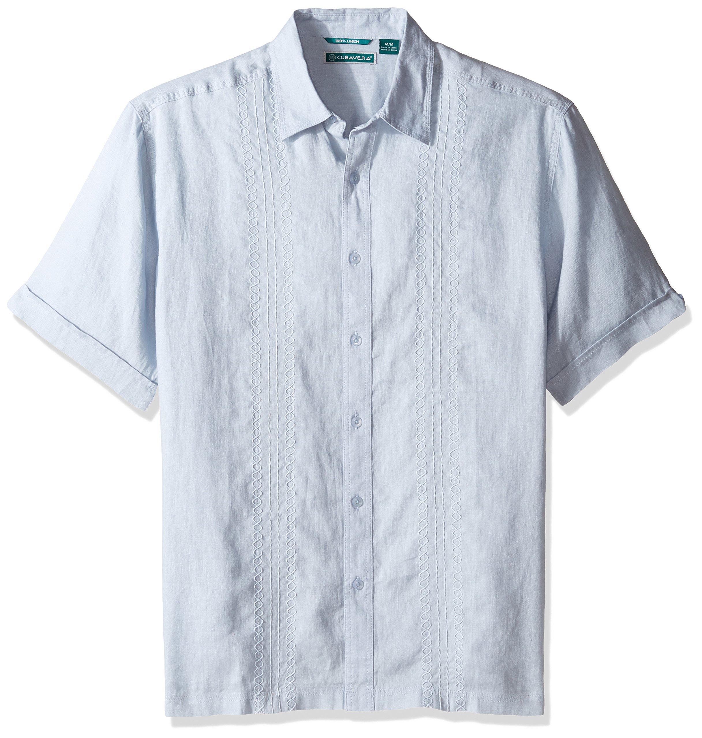 Cubavera Men's Short Sleeve 100% Linen Button-Down Shirt Embroidery, Skyway, Large