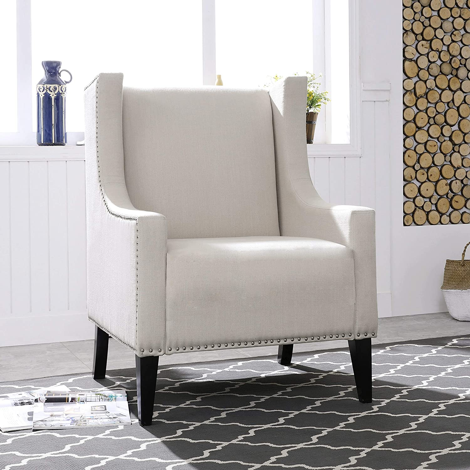 """LOKATSE HOME Modern Accent Fabric Arm Chair, Linen Upholstered Single Sofa with Solid Wood Legs for Living Room, Bedroom, 31.1""""x31.1""""x36.8"""", Beige"""