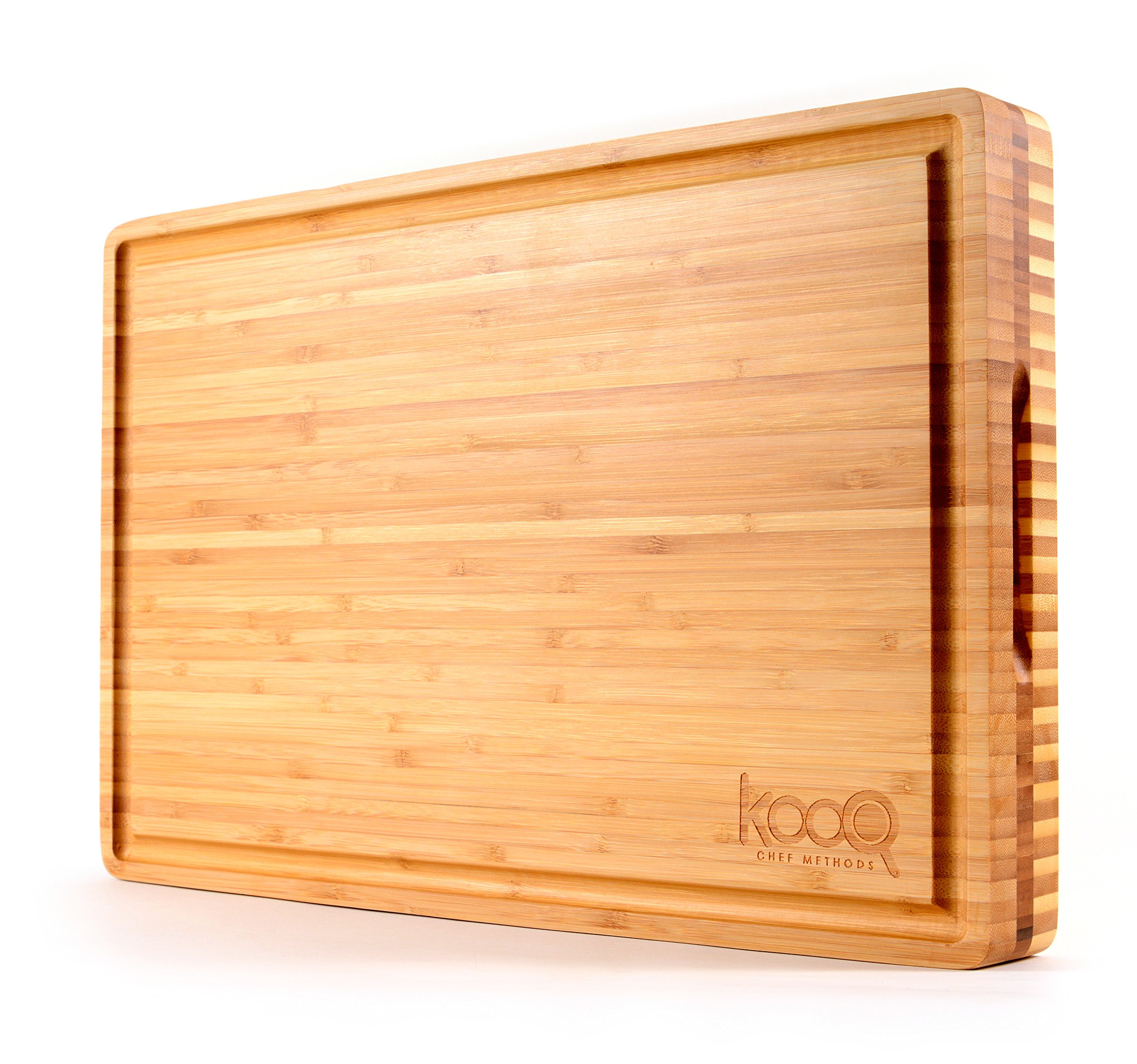 "The BEST Reversible Cutting Board - Perfect Serving Board on the market! Strong and sturdy Cutting Board on one side for cutting and chopping. (Extra Large - 18"" by 12"" and 2"" thick) by KOOQ"
