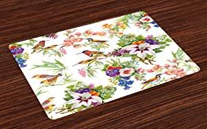Ambesonne Floral Place Mats Set of 4, Watercolor Wild Exotic Mockingbirds and Spring Flowers Branches Botanical Artwork, Washable Fabric Placemats for Dining Room Kitchen Table Decor, Pistachio Green