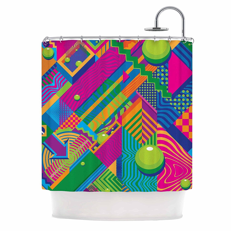 69 x 70 Shower Curtain Kess InHouse Roberlan The Fountain Pink Green Abstract Pop Art
