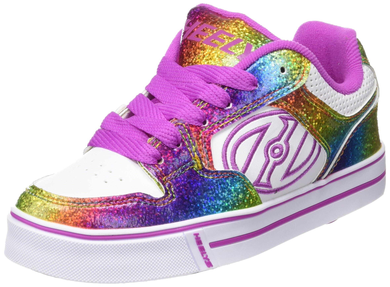 Heelys Kids Motion Plus Skate Shoe Fashion Sneaker-Girls,White/Rainbow/Hot Pink,4 Big Kid