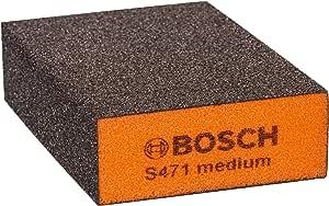 Bosch Professional S471 medium Esponja abrasiva para superficies y bordes, Gris/Naranja, Medio