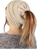 Funky Junque FunkyJunque's CC Ponytail Messy Bun BeanieTail Womens Beanie Solid Ribbed Hat Cap