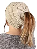 Amazon Price History for:FunkyJunque's CC BeanieTail Womens Ponytail Messy Bun Beanie Solid Ribbed Hat Cap