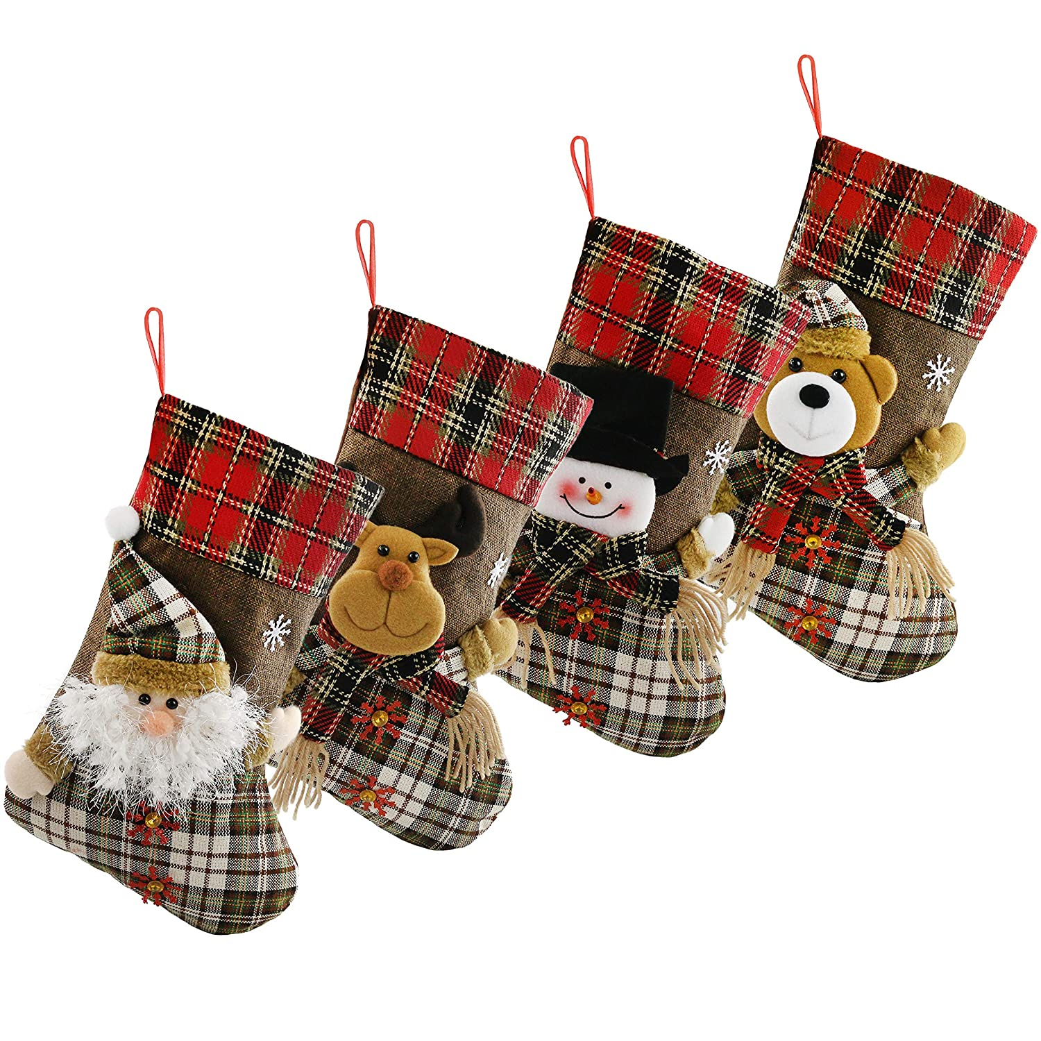01 Houwsbaby 4 pcs Felt Christmas Stockings 3D Santa Snowman Bear and Reindeer Green Cuff Xmas Holders Gift Bag for Ornament Party Accessory with Golden Ball Red 17 inches