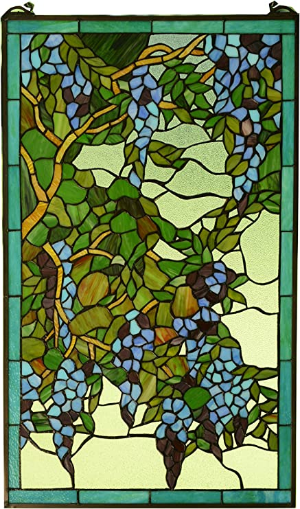 "20/"" x 34/"" Large Handcrafted stained glass peacock window panel"