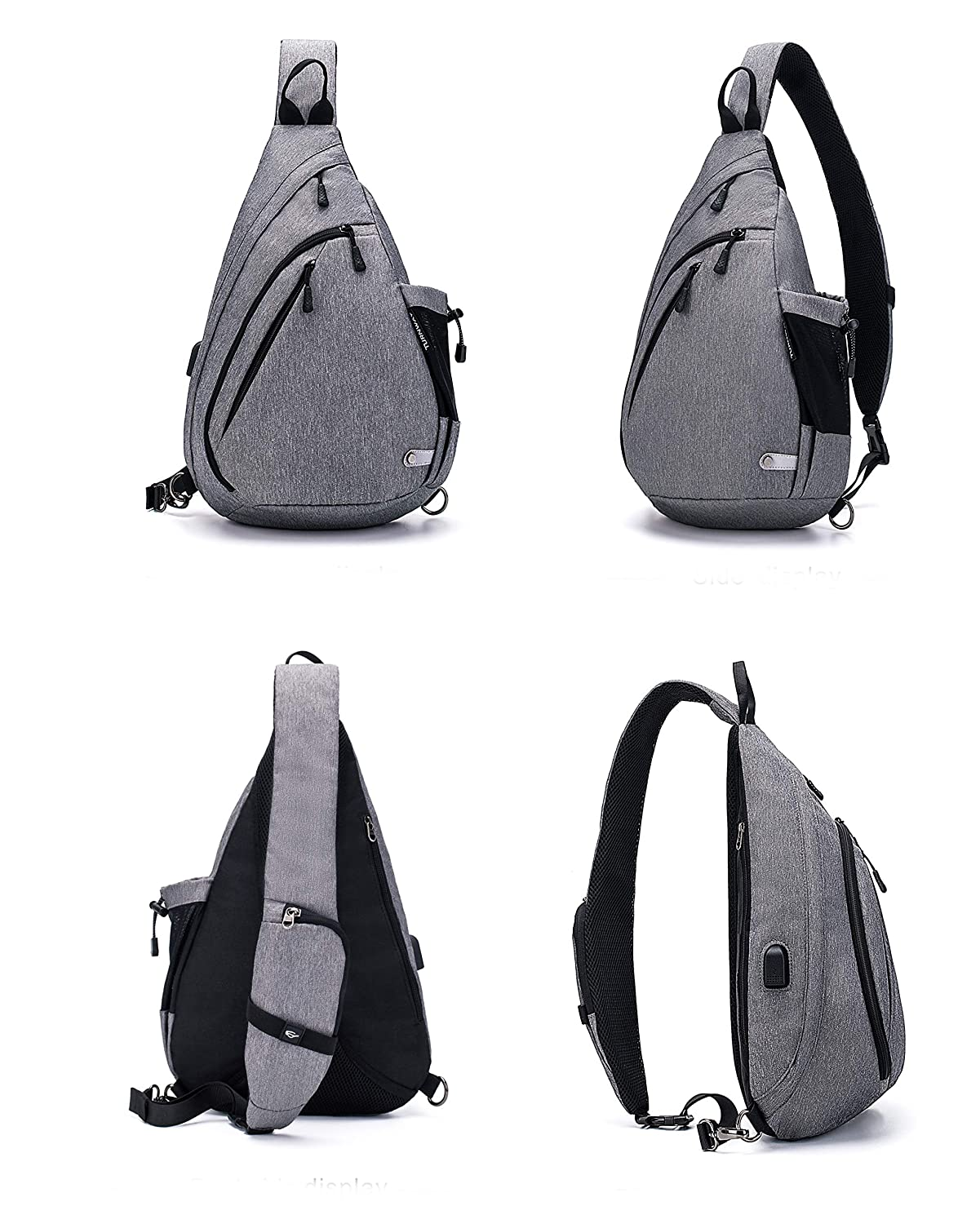 TurnWay Water-Proof Sling Backpack Crossbody Bag Shoulder Bag for Travel, Hiking, Cycling, Camping for Women Men Gray