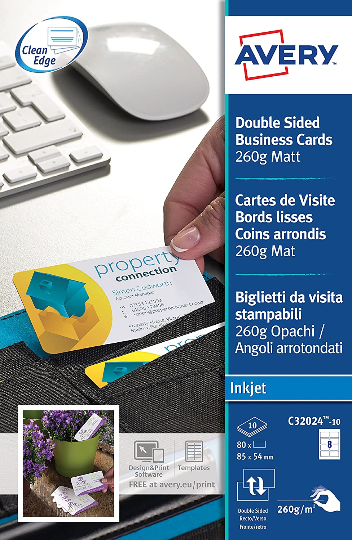 Avery Zweckform C32024 10 Lot De 80 Cartes Visite QuickClean 260 G M Aux Bords Arrondis Import Allemagne Amazonfr Fournitures Bureau