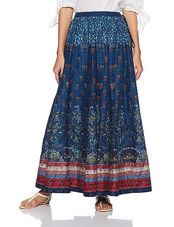 e64b3407dd BIBA Blue Cotton SkirtXL at Amazon Women's Clothing store: