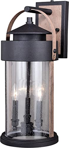 Vaxcel Dusk to Dawn Porch Light – with Photocell Sensor, Outdoor Farmhouse Light Fixture in Dark Bronze and Oak for Barn, Garage, Front Door, Porch and Patio