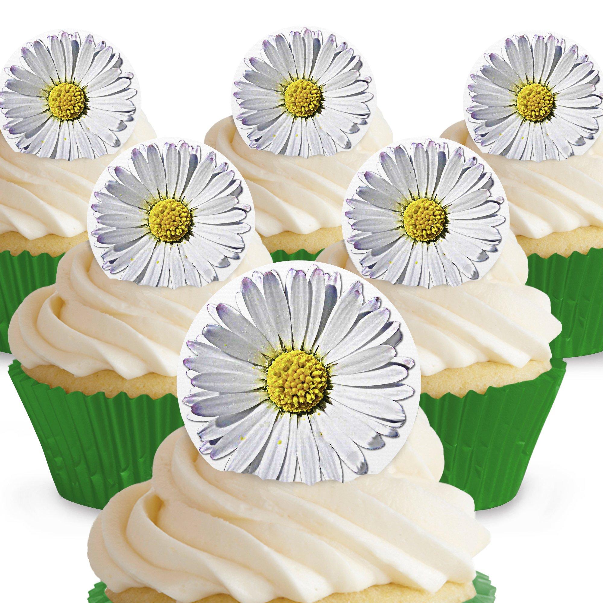 Cakeshop 12 X Pre Cut Pink Gerbera Flowers Edible Cake Toppers