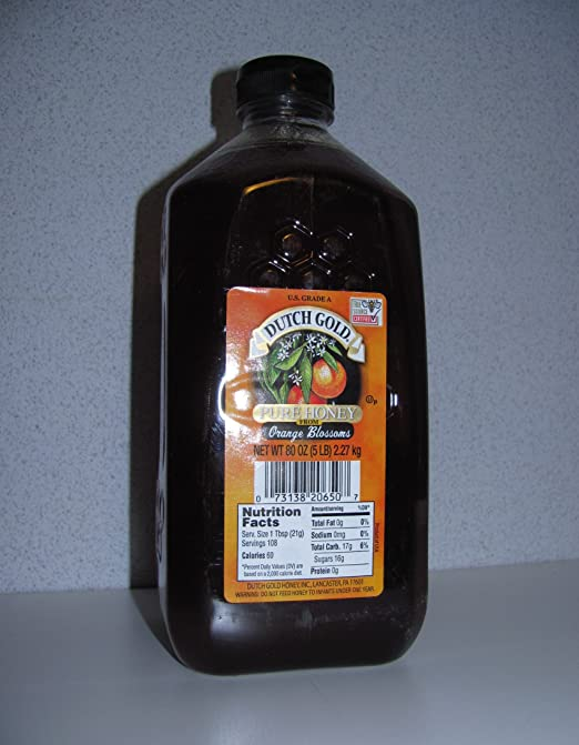 5LB HONEY DUTCH GOLD PURE HONEY FROM ORANGE BLOSSOMS 5 Pound jar 80 Ounce  Value Container