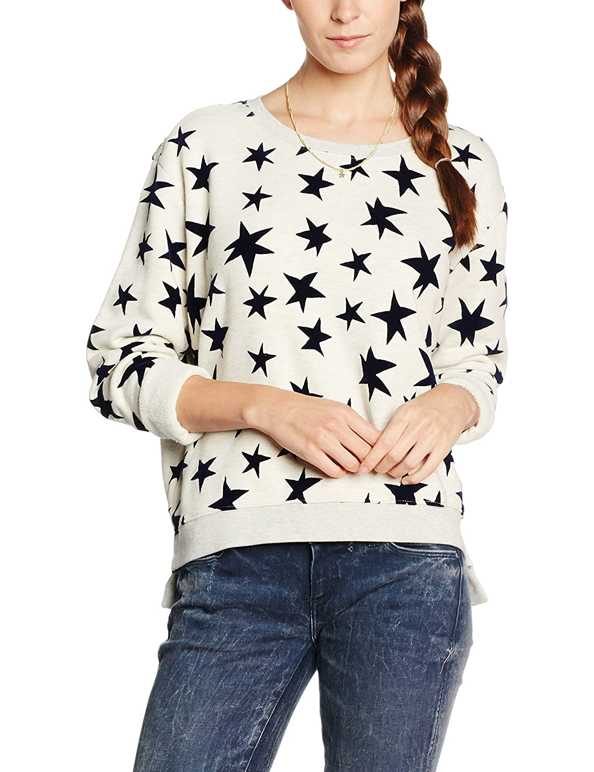 Maison Scotch Damen Sweatshirt Crew Neck Sweat with Allover Fun Prints