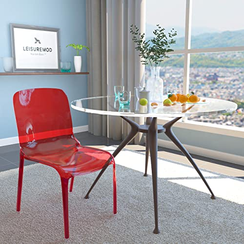 LeisureMod Murray Modern Dining Chair, Transparent Red