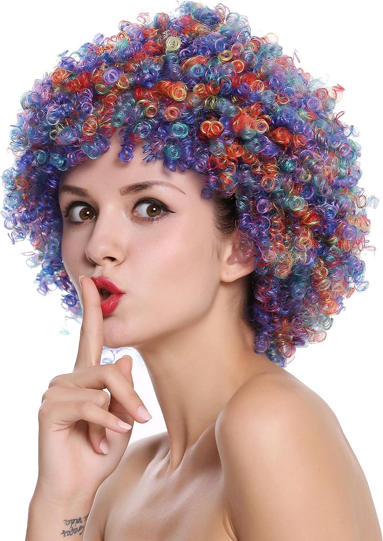 SZL-001-colorful Parrucca Donna Uomo Clown Parrucca Clown Afro Ricci Halloween Carnevale Colorata WIG ME UP /®