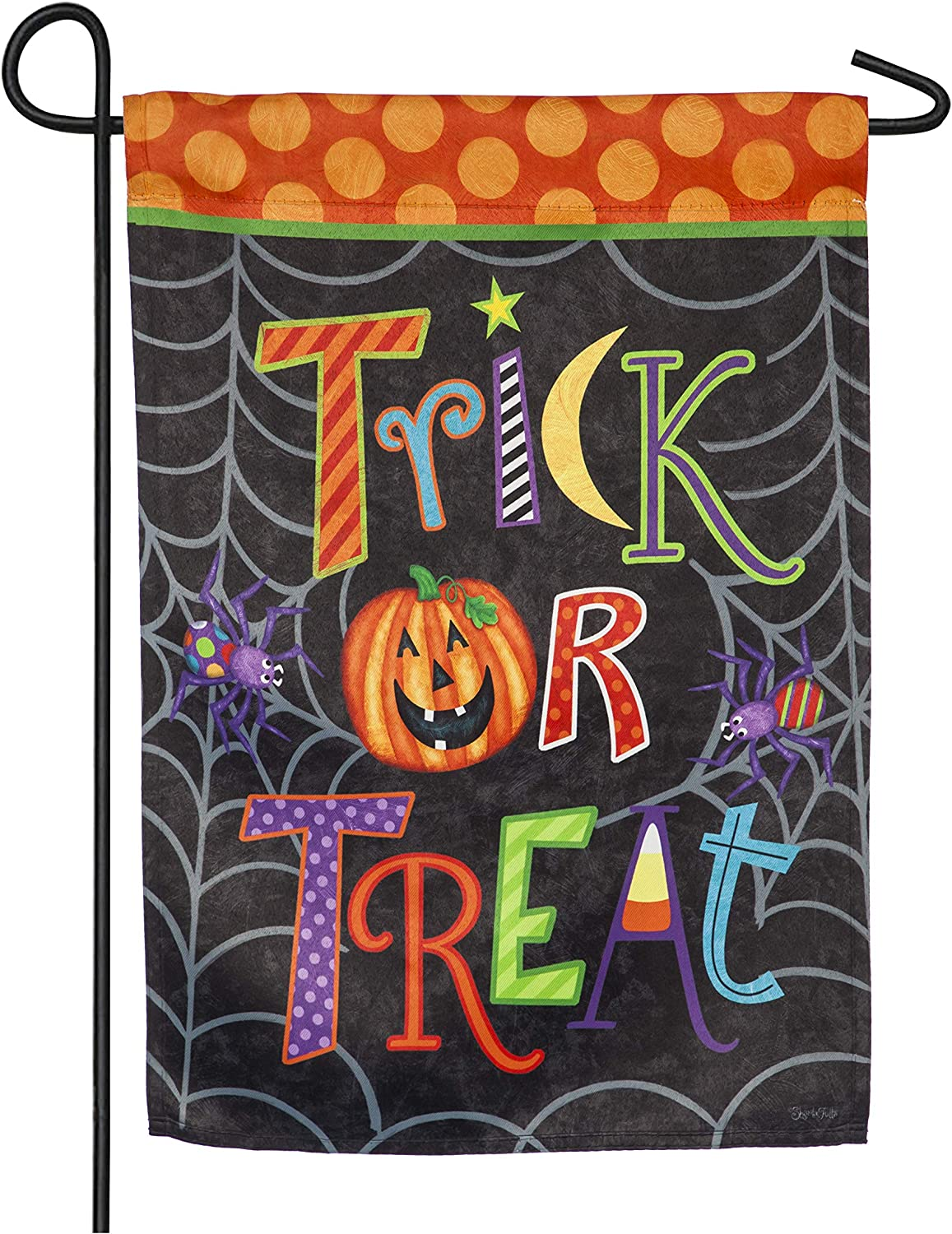 Evergreen Flag Fun and Cute Trick or Treat Garden Suede Flag 18 x 12.5 Inches