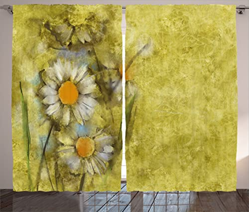 Ambesonne Flower Curtains, Chamomile Apple Motif Herbal Plant Cosmo Weed Alternative Medicine Retro Image, Living Room Bedroom Window Drapes 2 Panel Set, 108 X 84 , Pale Yellow