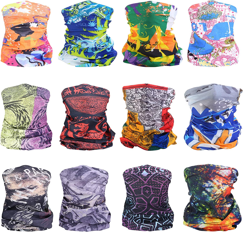 LOLIAS 12 Pcs Seamless Bandana Headband for Women Men Multifunction Head Scarf Cool Face Scarf Headwear Neck Gaiter Balaclava for Outdoor,Cycling,Riding,Sports