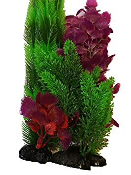 aquarium fish tank plastic artificial plants natural purple green medium decorations 33 cm 4 pieces best - Christmas Aquarium Decorations