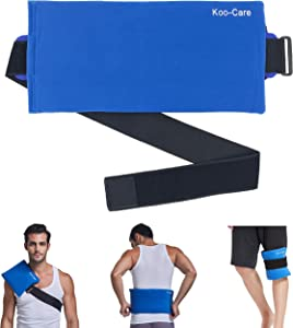 "Koo-Care Large Gel Ice Pack & Wrap with Long Strap Hot Cold Therapy Pack for Shoulder, Waist & Lower Back, Belly, Thigh, Knee, Shin - Great for Injury, Sprain, Bruise - 15.5"" x 7.3"""