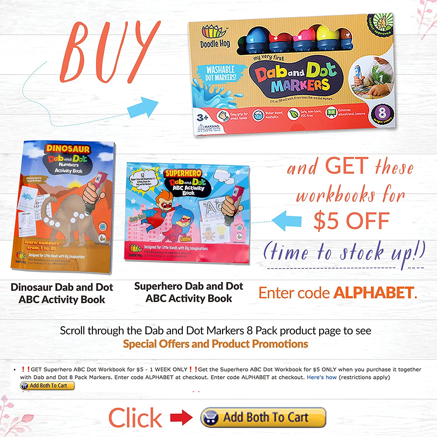 dab and dot markers set of 8 washable paint dauber markers
