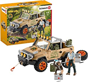 Schleich Wild Life Off-Road Jeep with Rope Winch 17-piece Playset for Kids Ages 3-8