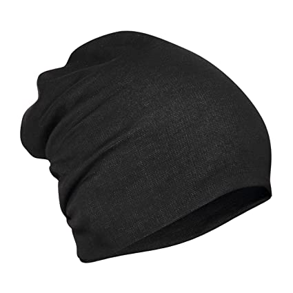 Buy FabSeasons Unisex Cotton Slouchy Beanie and Skull Cap (Black ... f50b91bfc0a
