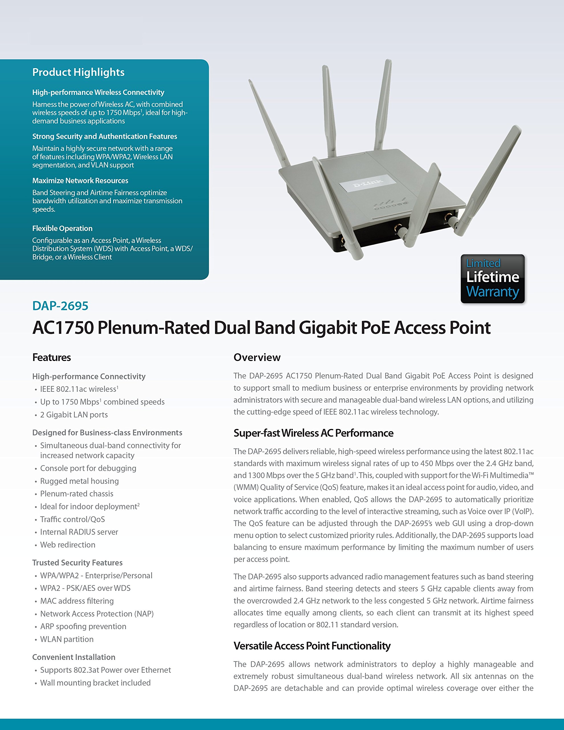 D-Link Systems Wireless AC1750 Simultaneous Dual Band Plenum-Rated PoE Access Point (DAP-2695) by D-Link (Image #8)