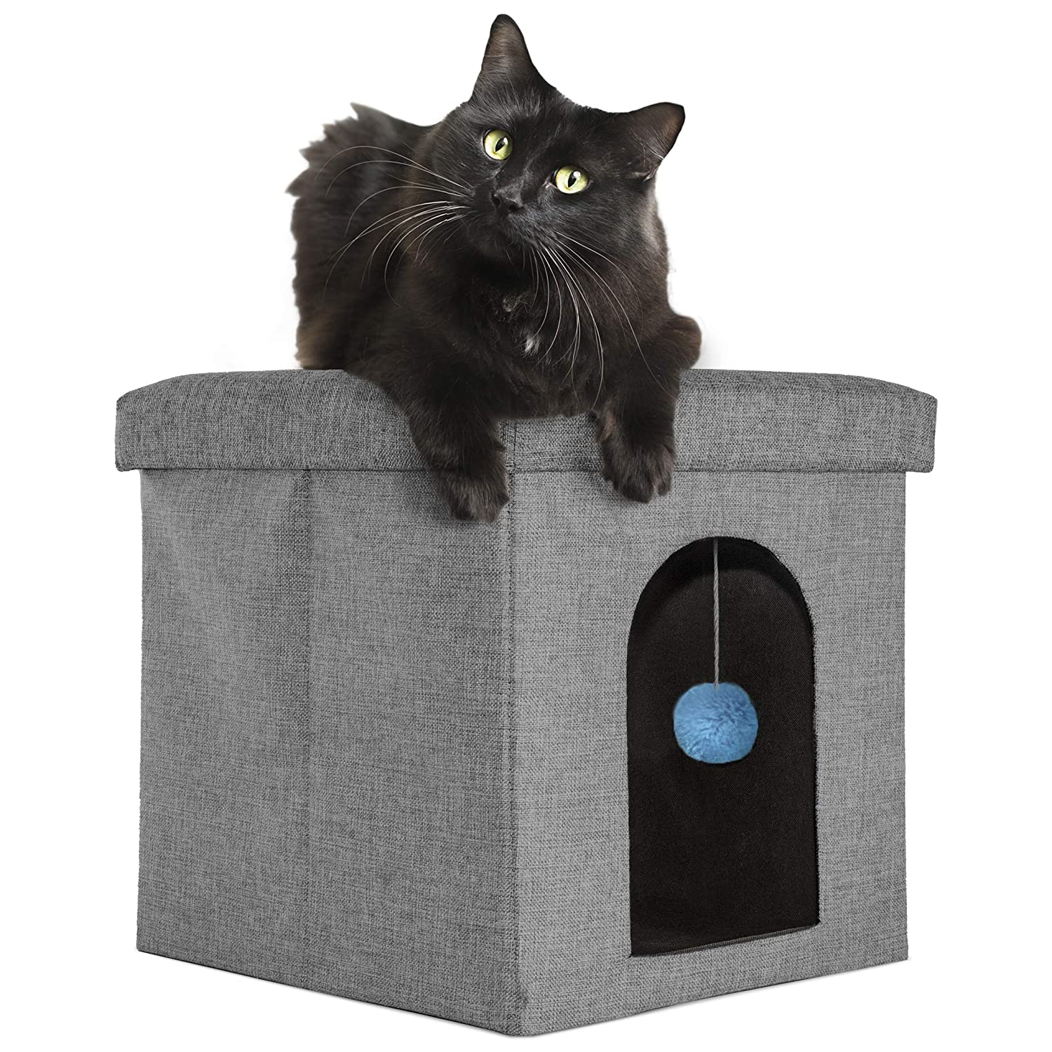 Available in Multiple Colors /& Styles Furhaven Pet Dog Bed Felt Pet House Private Hideout Den /& Collapsible Pop Up Living Room Ottoman Footstool Condo for Cats /& Small Dogs