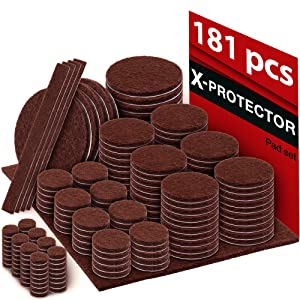 X-PROTECTOR Premium Ultra Large Pack Felt Furniture Pads 181 Piece! Felt Pads Furniture Feet All Sizes – Your Best Wood Floor Protectors. Protect Your Hardwood Flooring with 100% Satisfaction!