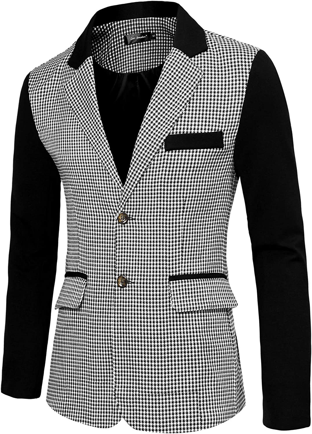 Lars Amadeus Men's Casual Sport Coat Pattern Button Up Houndstooth Plaid Blazer