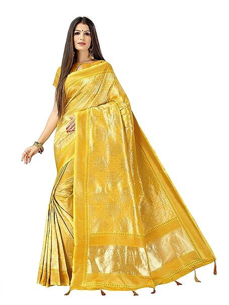 d0552bf11d3b3 Silky Sarees Women Yellow Banarasi Cotton Silk Saree With Blouse Piece   Amazon.in  Clothing   Accessories