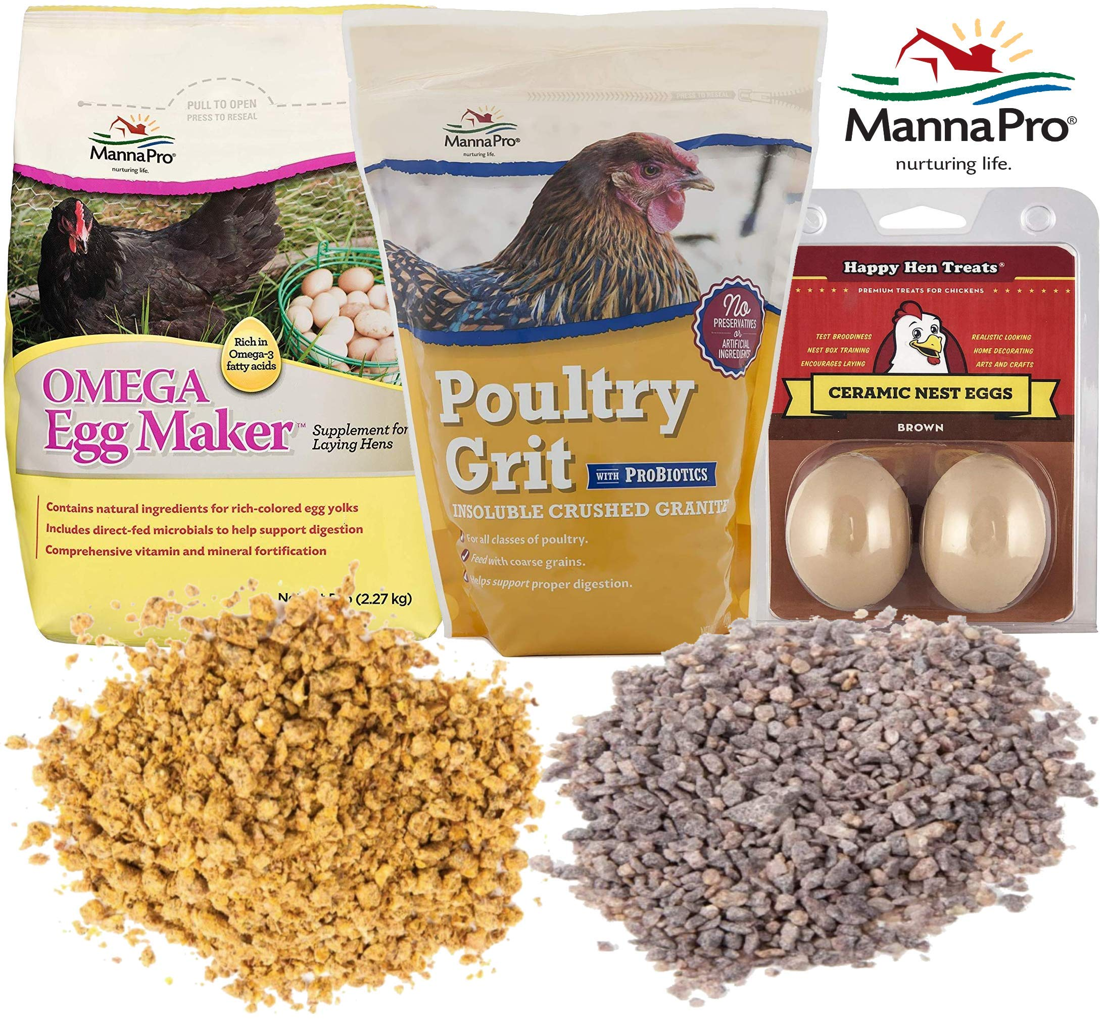 Manna Pro Chicken Feed Supplies Value Pack - Omega Egg Maker Supplement for Laying Hens, 5lb with Poultry Grit & Probiotics, Insoluble Crushed Granite, 5lb and Happy Hen Ceramic Nest Eggs for Brooding by Manna Pro