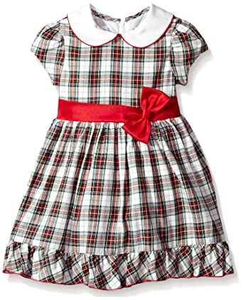 5fef3f696c40 Bonnie Jean Girls' Toddler Collared Cotton Dress, red/Black/Green Plaid,