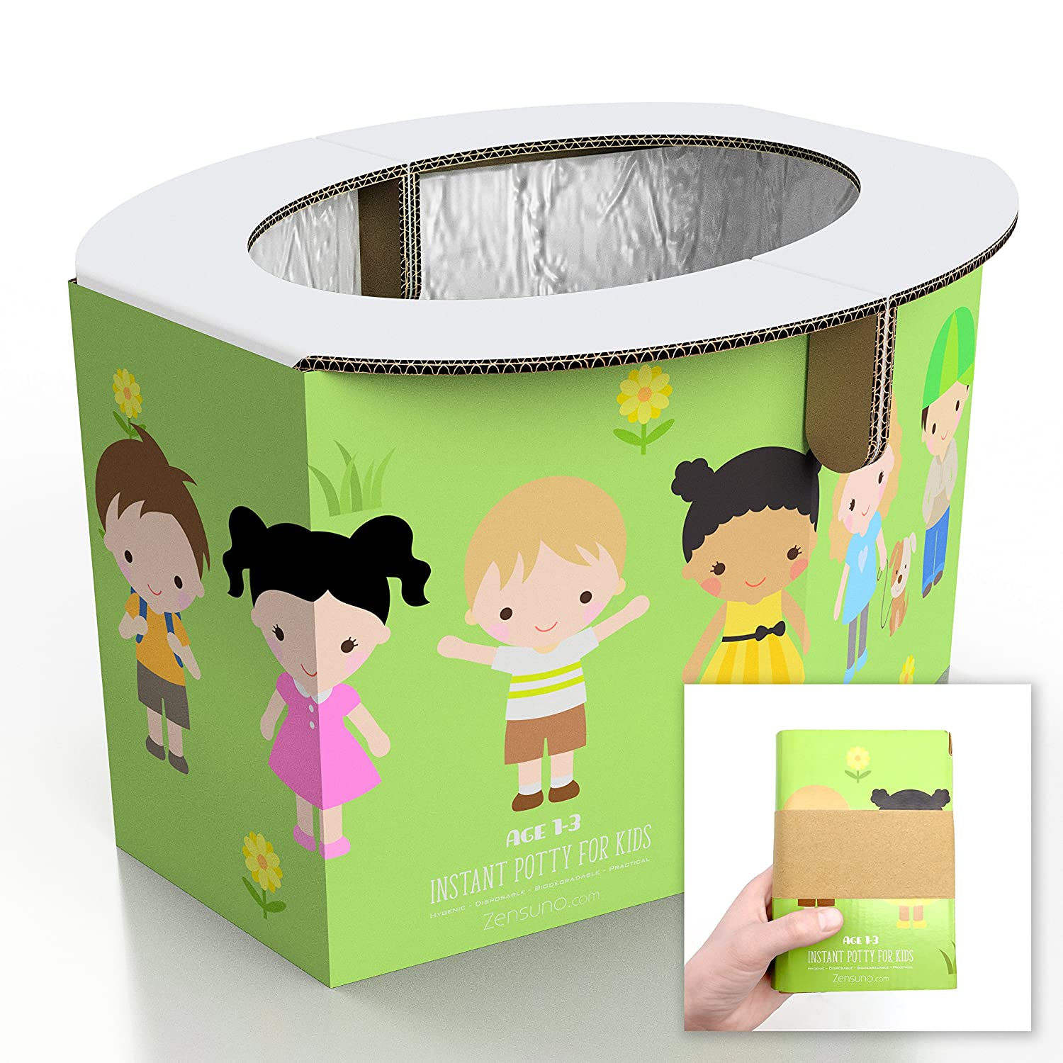 Zensuno Emergency Foldable Portable Disposable Hygienic Instant Potty for Kids Toddlers Small Children and Babies, Great for Road Trip, Camping, Traveling, Hiking and Car Essential (1 Pack, Age 1-3)