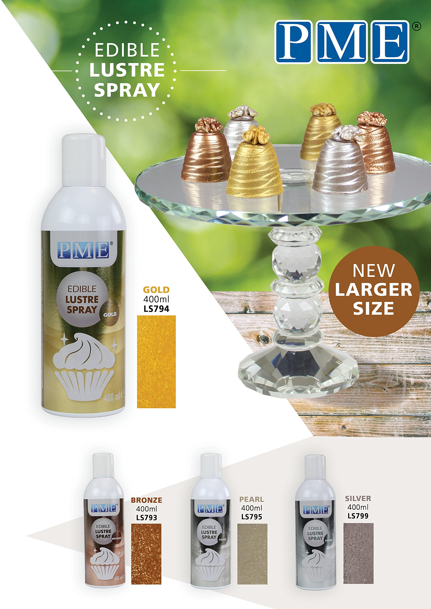 PME LS794 Tall Edible Lustre Spray Tall Can-400ml (13.5 oz), Tall, Gold by PME (Image #2)