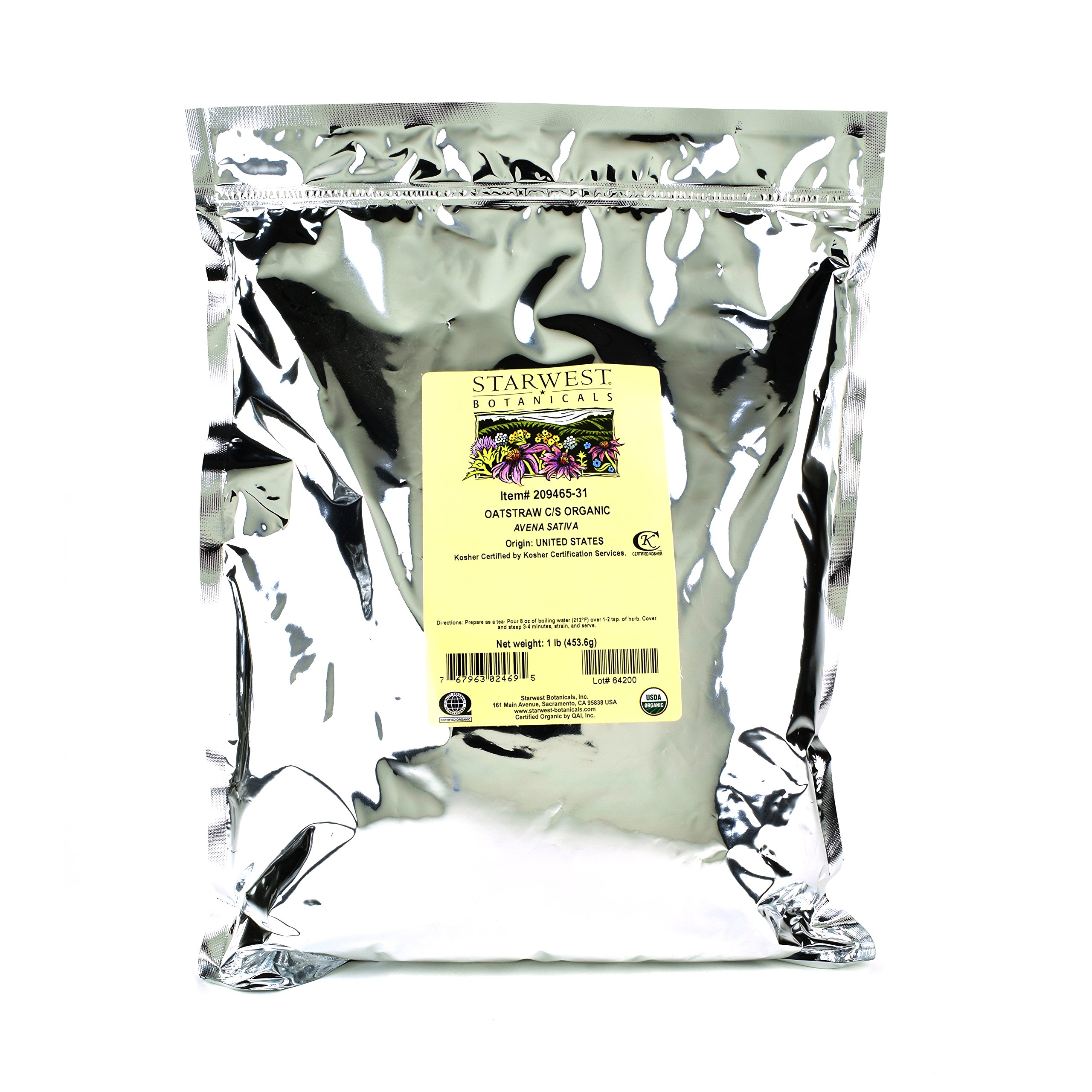 Starwest Botanicals Organic American Oatstraw Herb Loose Tea Cut and Sifted, 1 Pound Bulk Bag