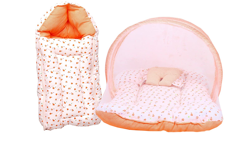 RBC RIYA R Mattress with Mosquito Net & Sleeping Bag Combo 0-6 Months (0-6 Months, Orange)