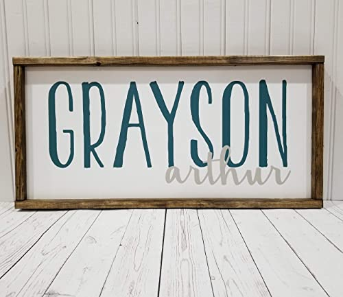 Amazon Com Nursery Name Sign First And Middle Names Boy Or Girl Room Decor Farmhouse Sign Rustic Decor Fixer Upper Style White Frame Handmade