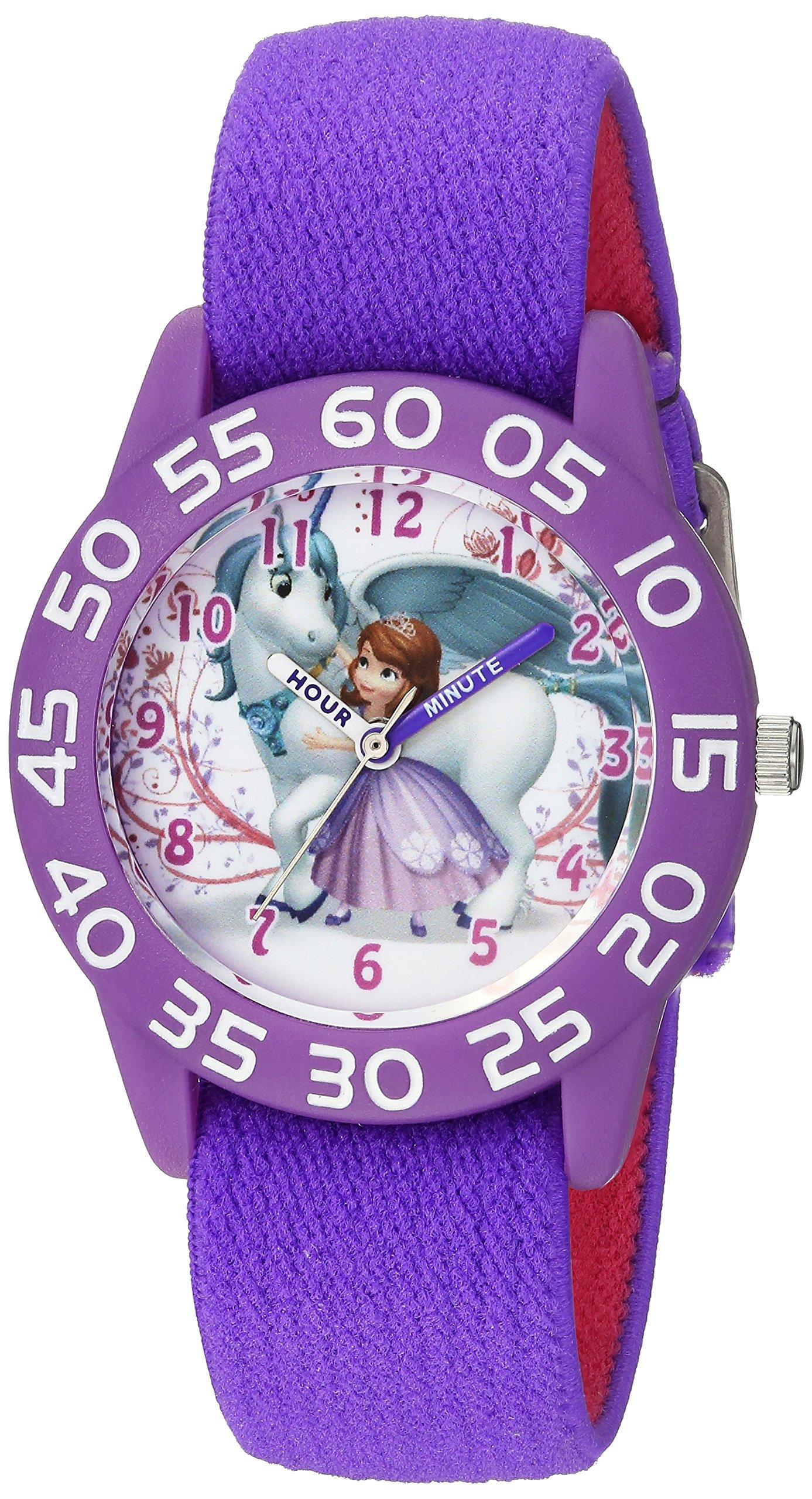 Disney Girl's 'Princess Sofia' Quartz Plastic and Nylon Casual Watch, Color:Purple (Model: WDS000267)