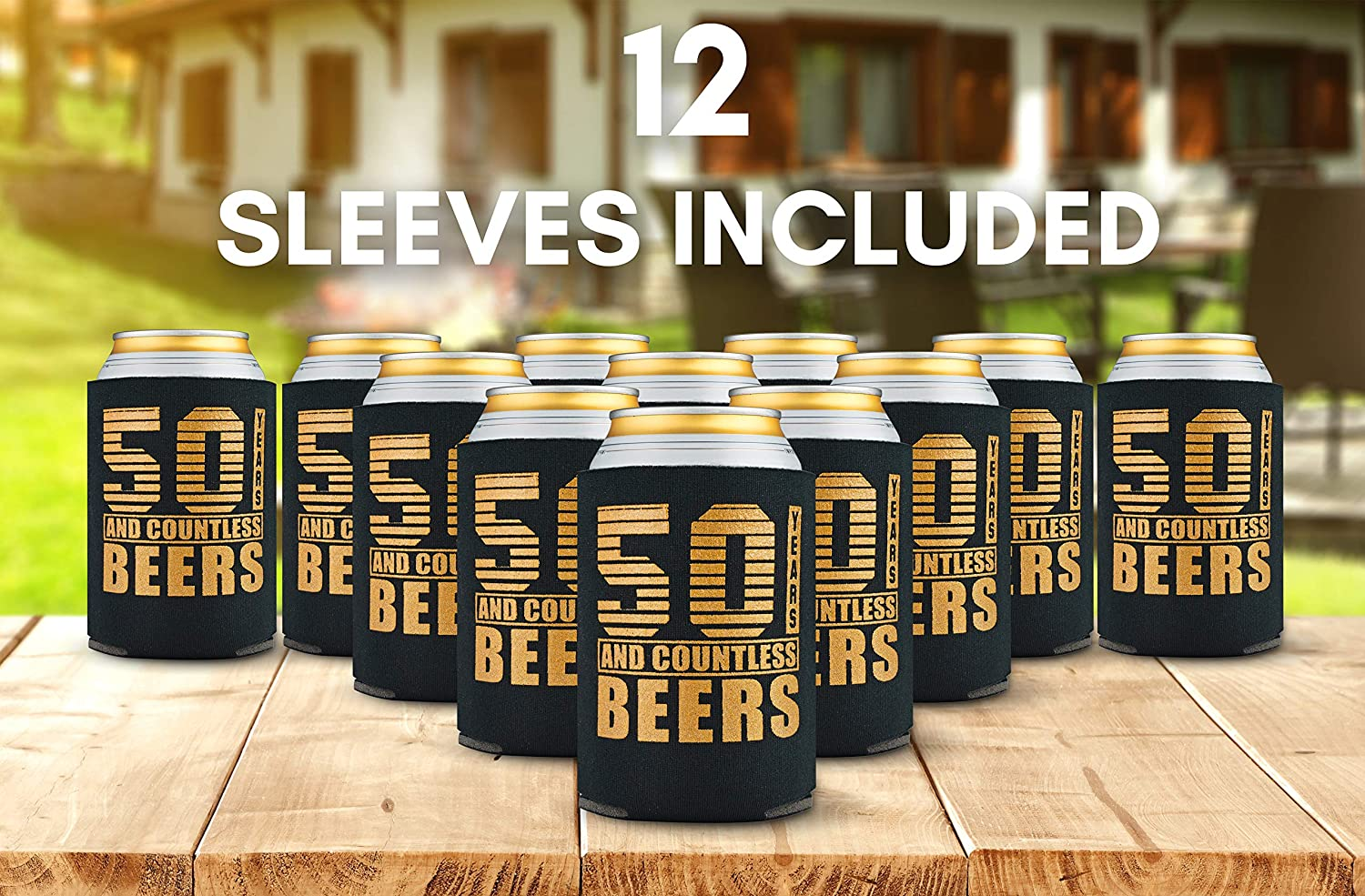 50th Birthday Decorations for Men 12-Pack Can Coolers 50th Birthday Gift Ideas Beer Sleeve 12 Beer Cooler Insulated Sleeves 50th Birthday Gifts Men or for Women Black with Gold Lettering