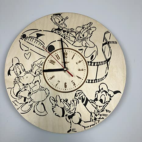 Donald And Daisy Duck Wall Clock Made Of Eco Friendly Wood Unique Gift Idea And Home Decor Great For Living Room Kitchen Bedroom Silent Quartz Movement And Autonomous