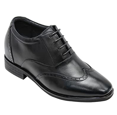 c9f982953f70ef CALTO Men s Invisible Height Increasing Elevator Shoes - Black Leather  Lace-up Brogue Wing-