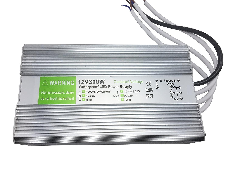 YXH LED電源300w DC 12v、Ac90-130Vドライバー変圧器防水IP67 LEDストリップライト、LEDモジュールおよびその他の屋外DC Led照明に適しています B075QDK6WZ 10911   300W